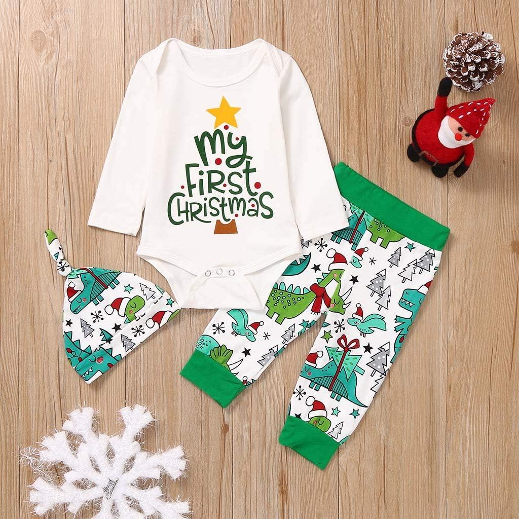 K-Youth Conjunto Bebe Ni/ño Navidad Bodys Bebe Ni/ña Frases Reno Ropa Bebe Recien Nacido Ni/ño Pajamas Navidad Ni/ños Mono Bebes Pelele Ni/ñas Invierno Mameluco Pantalones Gorro Bautizo