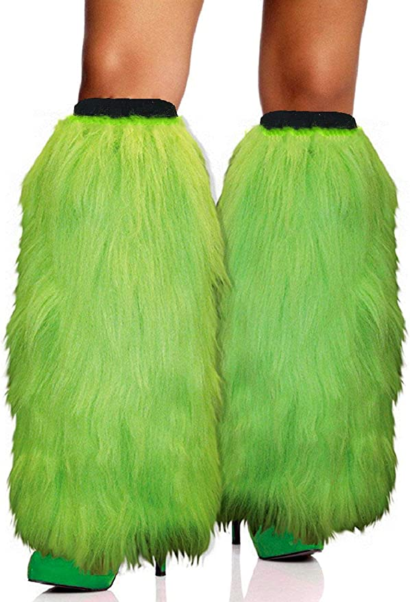 Mardi Gras Leg Warmer Covers for Women One Pair Mardi Gras Costume Accessories for Adults Fur Heels Long Boots Cuff Cover By 4E/'s Novelty