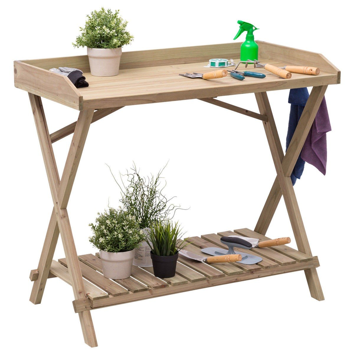 Patio Wood Display Potting Bench Table - By Choice Products by By Choice Products