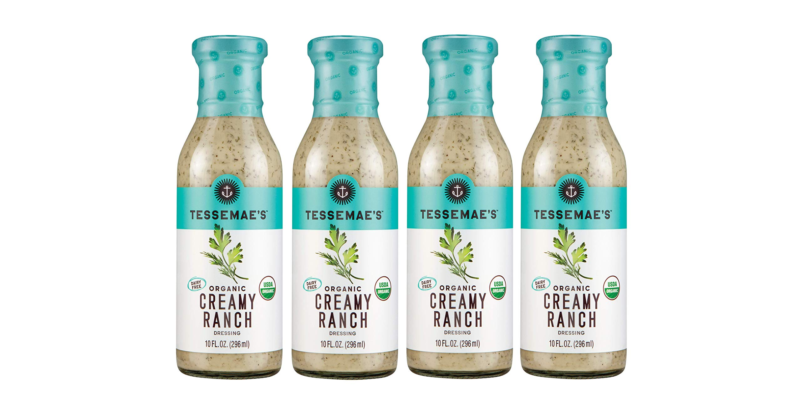 Tessemae's Organic Creamy Ranch Dressing 4 pack, Whole30 Certified, keto diet approved, USDA Organic, soy-free, dairy-free, gluten-free, sugar-free by Tessemae's