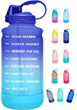 Elvira Half Gallon/64oz Motivational Time Marker Water Bottle with Straw & Protective Silicone Boot, BPA Free Anti-slip…