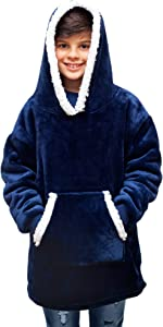 FEDERI The Original Oversized Sherpa Wearable Blanket Hoodie | Plush Fleece Blanket Sweatshirt with Pockets and Sleeves for Kids, Boys, Girls, Youth, Teens | One Size Fits All (20x34 inches) (Navy)