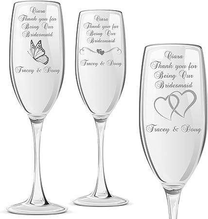 Personalised Engraved Argon Champagne Flute Wedding Wine Birthday Bridesmaid