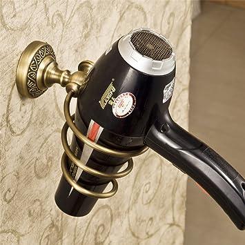 weare Home Retro sólido cobre Soporte para secador de pelo secador plana Bronce revestimiento con 91808 pared montaje agarre Bar Baño Accesorios Baño ...