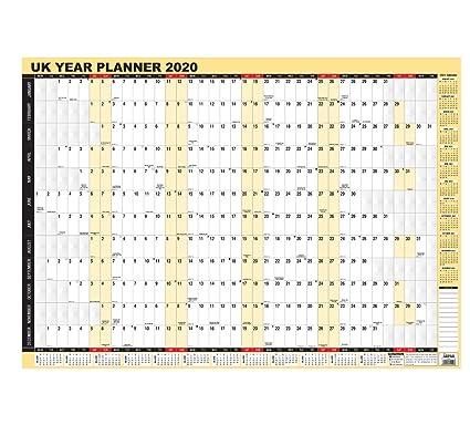 Planificador de pared anual 2020, calendario de pared laminado por Arpan (A1-2020)