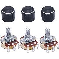 TWTADE / 3pcs 1M Ohm Potentiometer Single Turn Rotary Linear Variable Potentiometer + 3pcs black Aluminum alloy knob