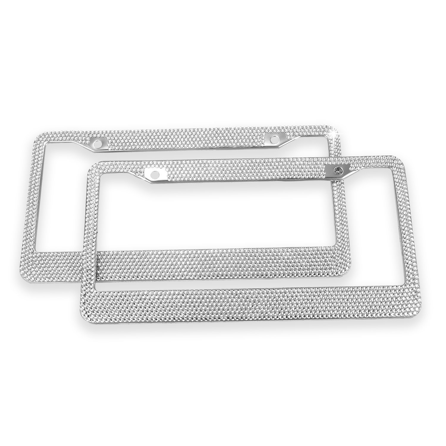 Ohuhu Diamond License Plate Frame, 2 Pack Bling Rhinestone Car License Plate Frames Holders with 7 Shiny Crystal Rows, Metal Chrome Auto License Plate Cover with Mounting Screws, Silver