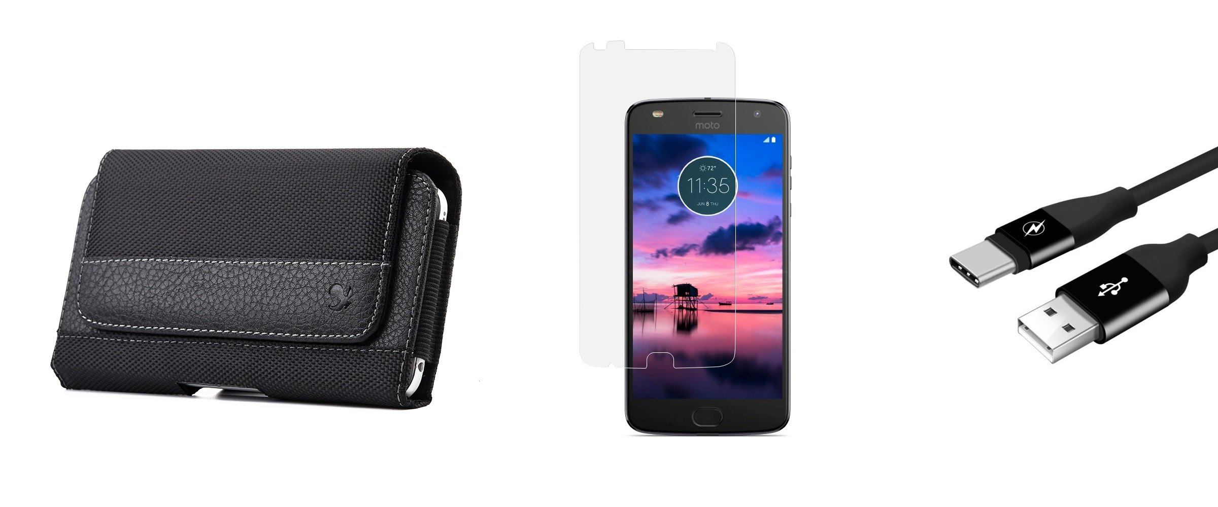 Moto Z2 Play - Case Bundle: Synthetic PU Leather Stitched Fabric [Belt Clip | Loops] Holster Pouch (Fits Slim Cases), Glass Screen Protector, Durable Fast Charging USB Type-C Cable [3 Feet], Atom LED