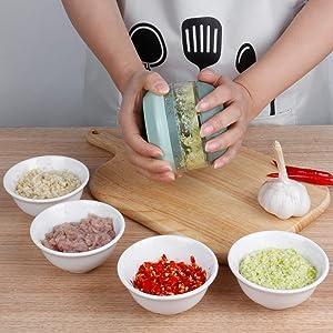 iHave Garlic Chopper, Mini Food Processor Small manual Food Chopper, Hand Garlic Mincer for Vegetable, Onion, Meat, Professional Garlic Crusher, Easy to Clean Mini Chopper with Garlic Peeler