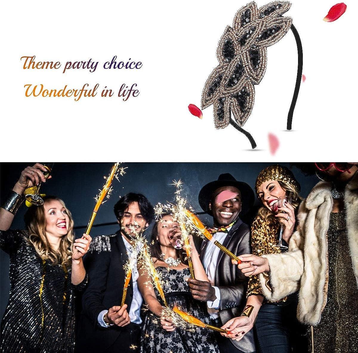 Cerchietto per capelli anni /'20 oro argento accessorio per feste a tema Gatsby stile vintage 1920 con perle e foglie in cristallo