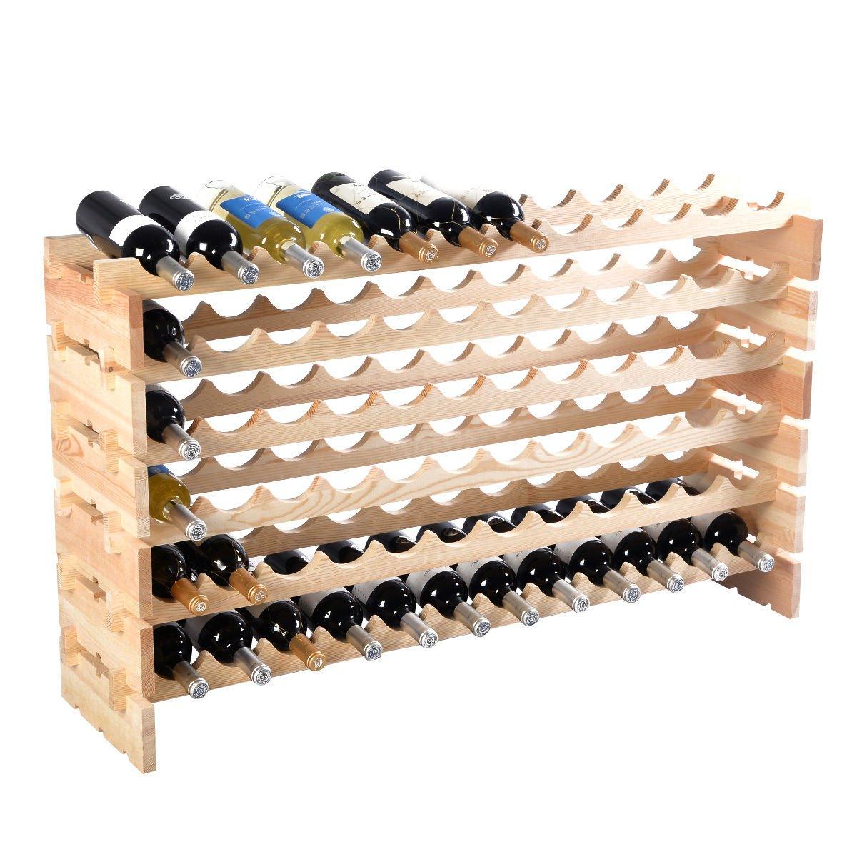 6 Tier Pinewood Wine Rack Natural Display Storage Shelves fit 72 Bottle by FDInspiration (Image #2)