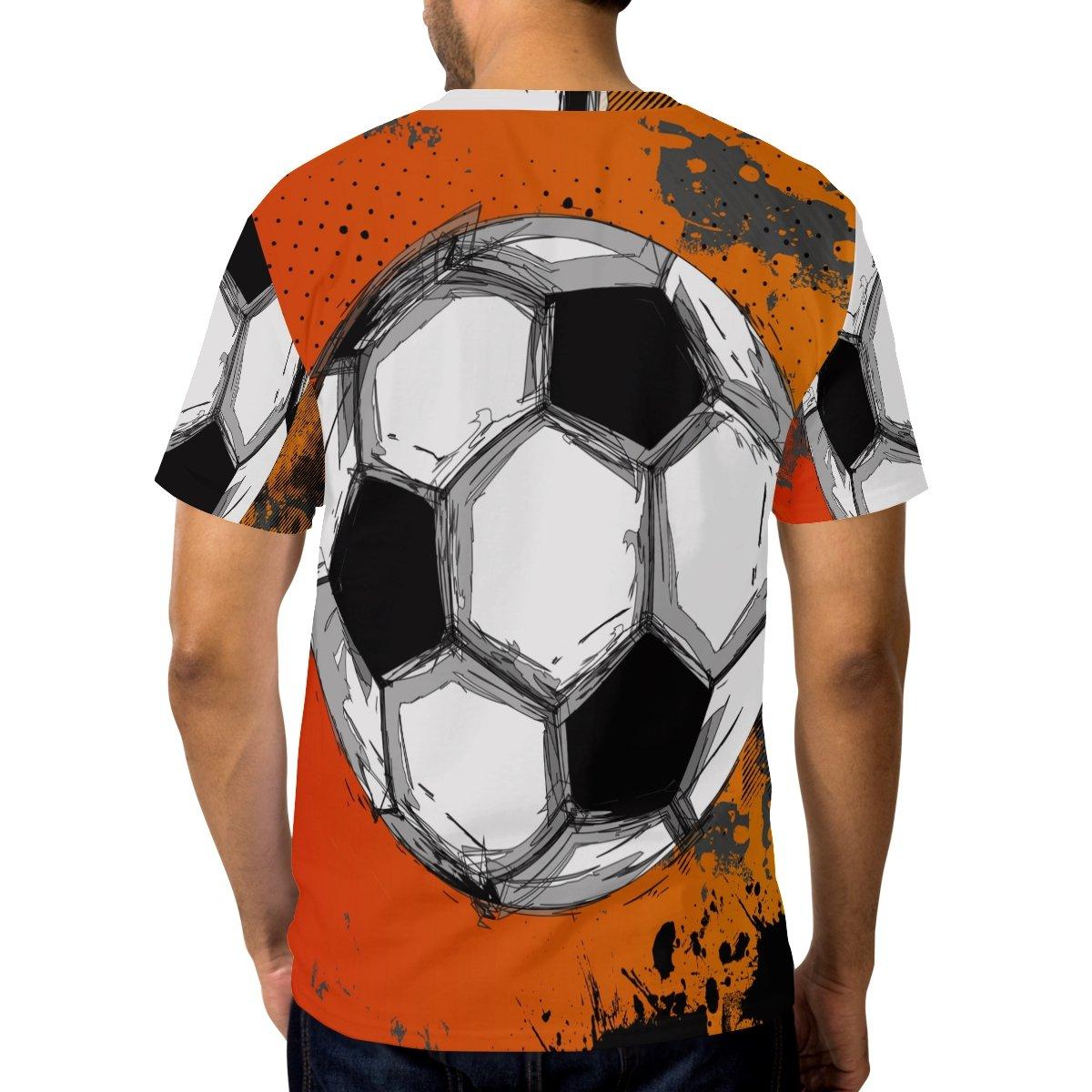 LORVIES Men/'s Grunge Color Full Soccer Ball Short Sleeve T Shirts