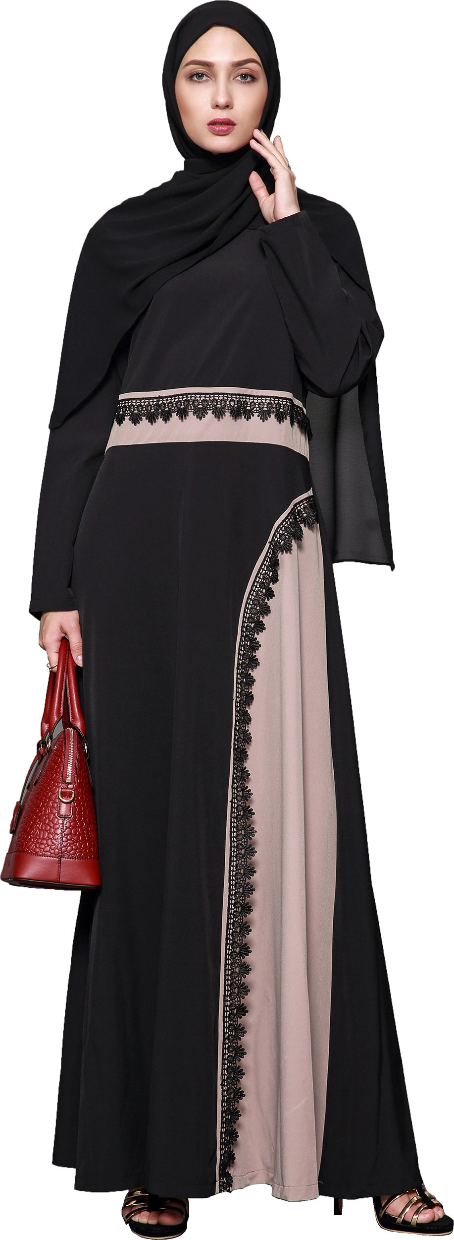 Ababalaya Women's Elegant Modest Muslim Full Length O-Neck Color Block Runway Abaya S-4XL,Black,Tag Size L = US Size 10-12