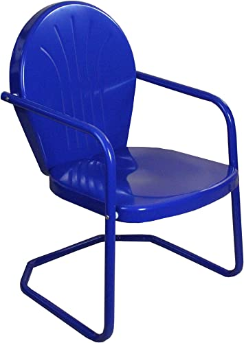 Northlight 34-Inch Outdoor Retro Tulip Armchair, Blue