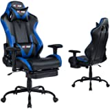 KCREAM E-Sports Chair with Headrest and Lumbar Pillows PVC Leather Ergonomic High-Back Gaming Chair Adjustable Height Profess