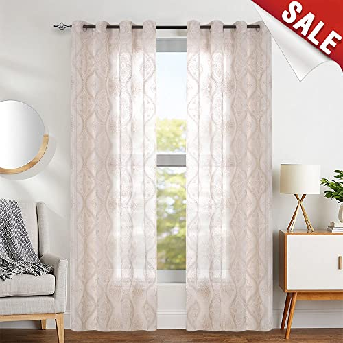 jinchan Embroidered Sheer Curtains Grommet Top 2 Panels W58 x L85 inch Damask Ivory on Gold