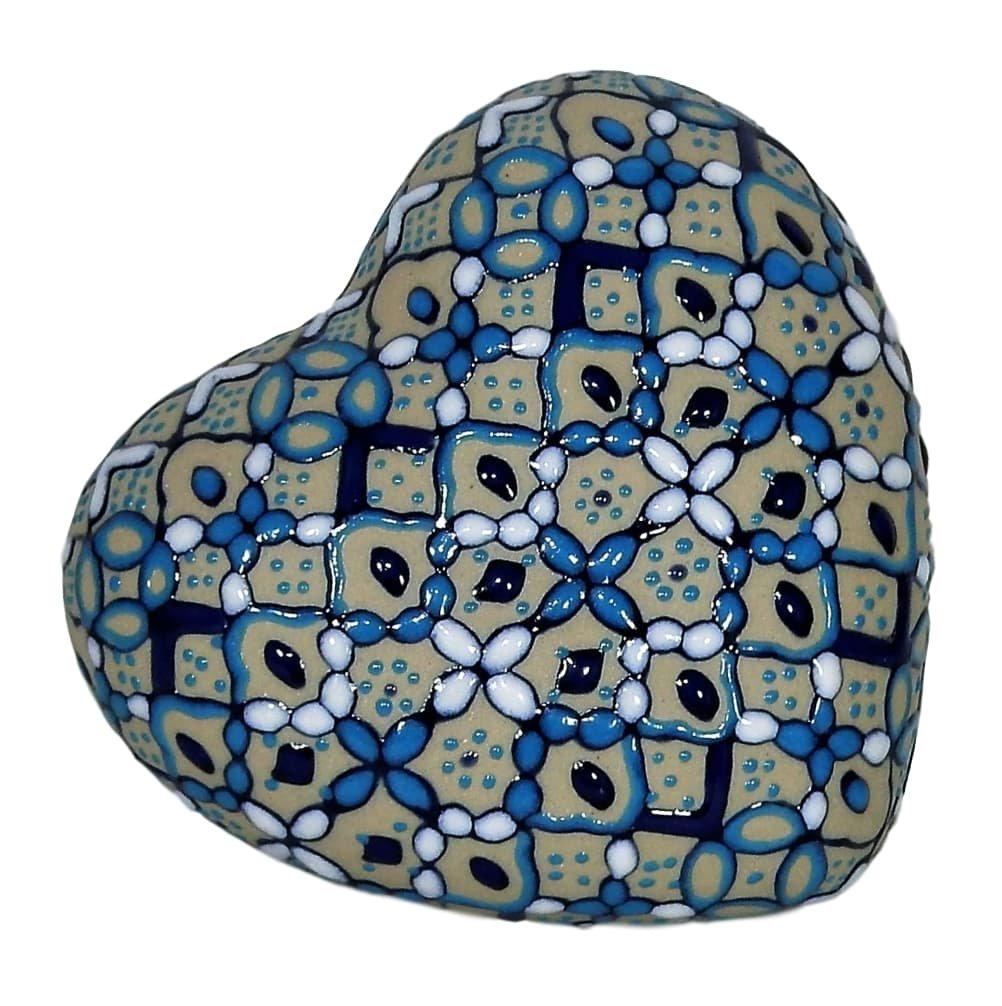 Forma de Corazón Caja de joyería hecha a mano y pintado a mano, hecho de Baked en de cerámica de alta temperatura, 01 Blue, 3: Amazon.es: Hogar
