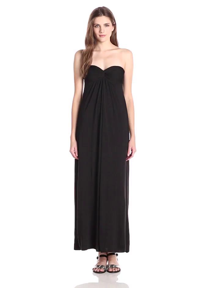 Star Vixen Women's Strapless Twist Front Sweetheart Maxi Dress, Black, Small