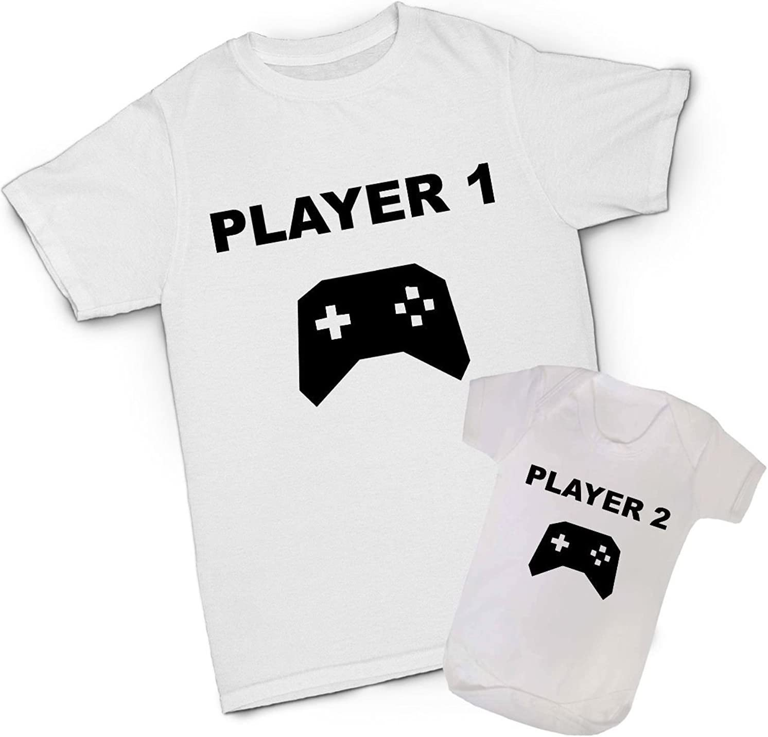 Player 1 Player 2 T-shirts Father Baby Gaming Shirts Daddy Son Matching Shirts
