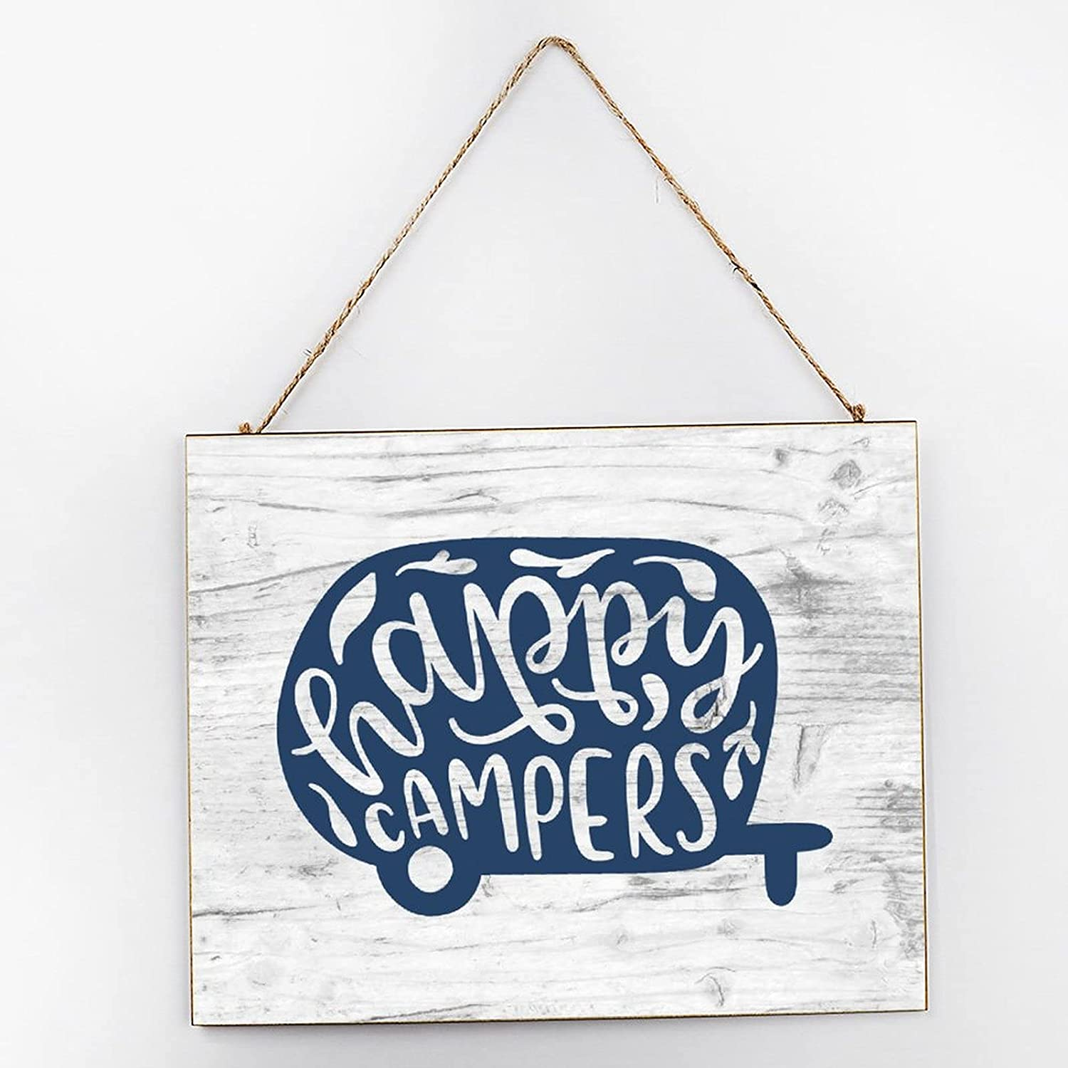 EricauBird Happy Campers Quotes Farmhouse Hanging Wood Sign Camping Car Wood Plaque 10x12 Rustic Wall Decor Wall Art for Indoor Outdoor
