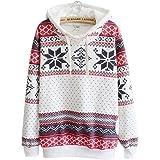 69792399ce Tongshi Las Mujeres de la Nieve de la Navidad del suéter con Capucha del  Puente del suéter…