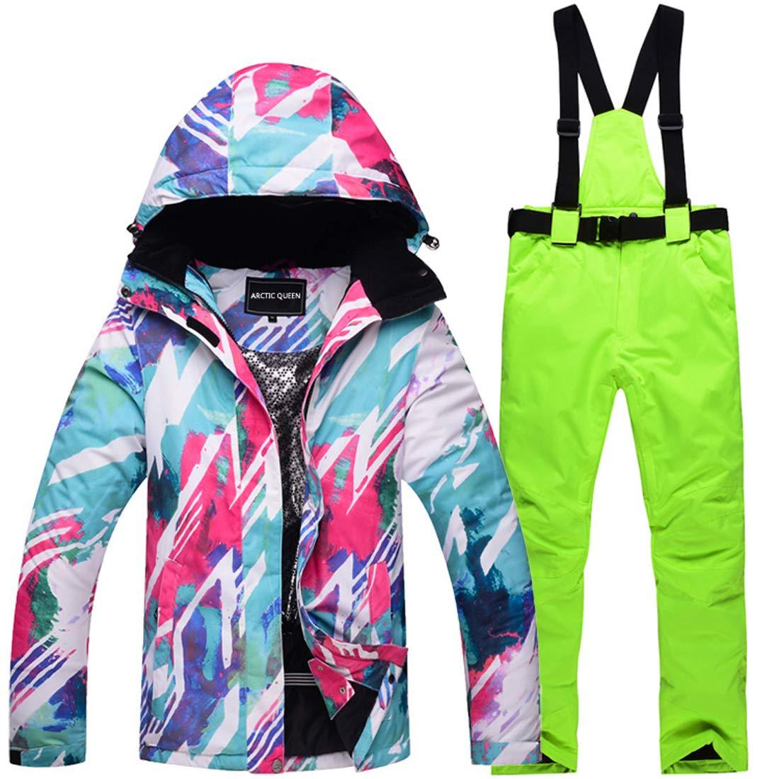 スキーウェア レディース 上下セット スノーボード ウェア スノーボードジャケット ジャケット パンツ ズボン スキースーツ スノーボードウェア セットアップ 保温 防寒 防風 撥水 防水 女性 アウタージャケット スーツ スポーツコート スノボウェア カラー1+蛍光グリーン Small