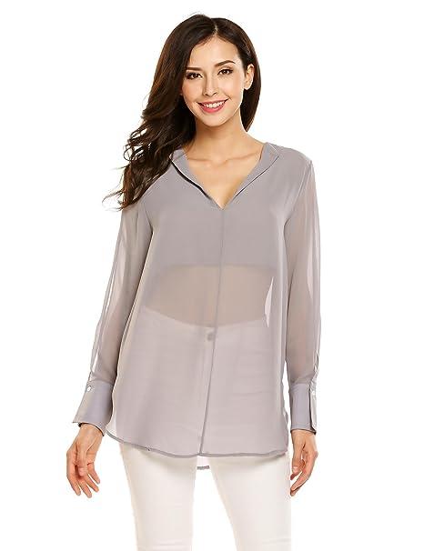 8901385dc6 Zeagoo Women Sexy Chiffon Blouse V Neck Long Sleeve Loose Summer Tops(Grey