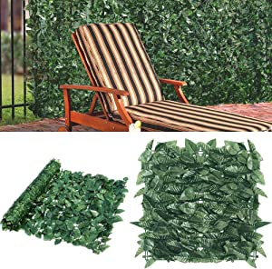 Goasis Lawn Artificial Hedge Fence Panels Topiary Hedge Boxwood Plant Privacy Screen Outdoor Indoor Use Garden Fence Backyard Home Decor Greenery Walls, 2 Rolls