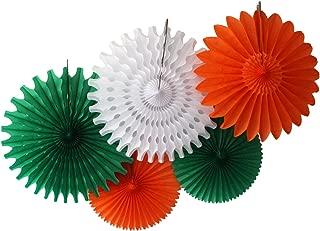 product image for Devra Party 5-Piece Honeycomb Fans, Irish White Orange Green