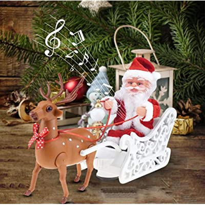 NSZMDFJ Electric Reindeer Pulling Santa Claus Christmas Figurine Ornament Xmas Family Party Kids Decoration Toys Gifts Christmas Decoration,White: Sports & Outdoors