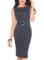 Women Pencil Dress Wear to Work Office Casual Sleeveless Knee Length Vintage Dot BK191