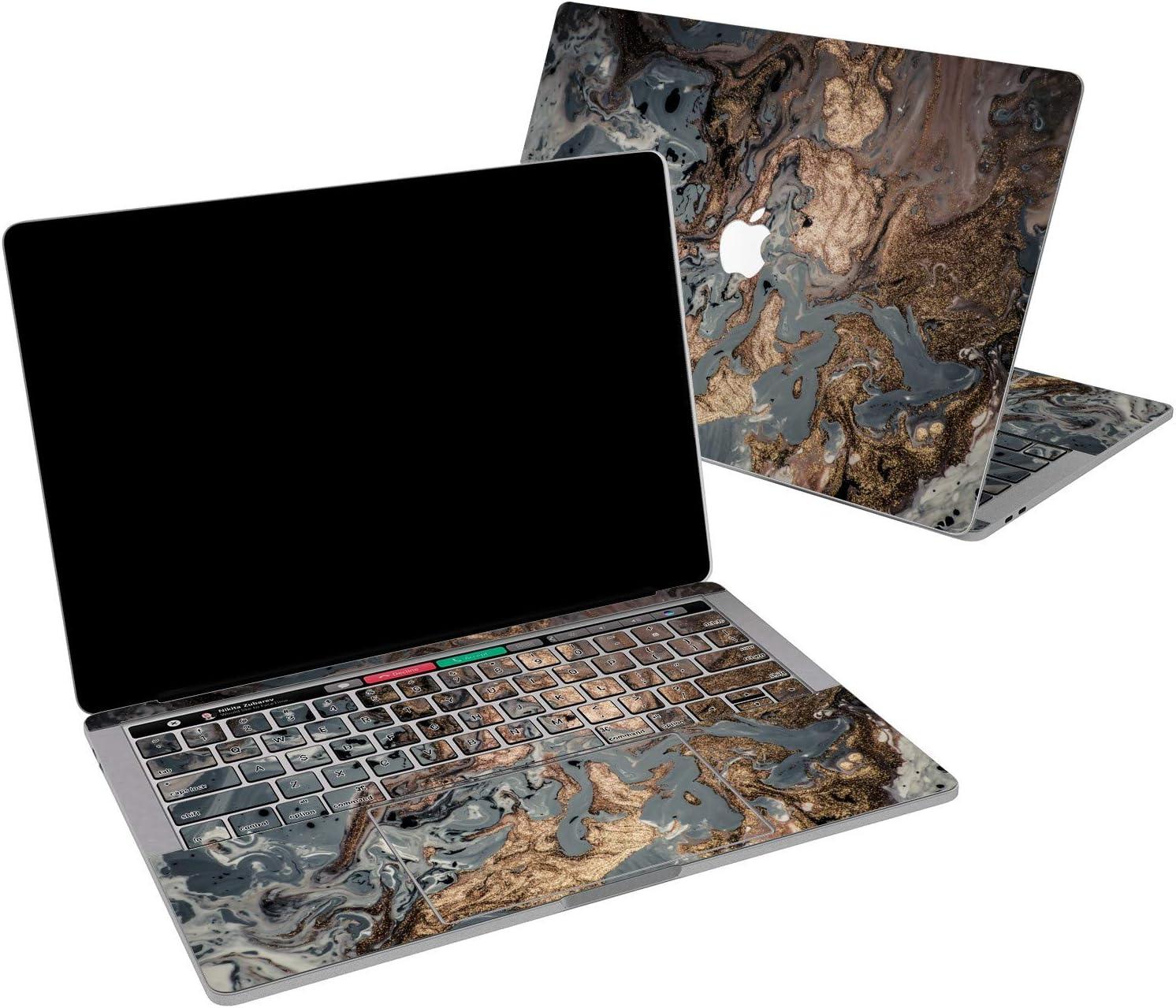 Lex Altern Vinyl Skin for MacBook Air 13 inch Mac Pro 16 15 Retina 12 11 2020 2019 2018 2017 Bronze Paint Pattern Black Golden Minimal Texture Wrap Laptop Cover Protective Decal Sticker Touch Bar