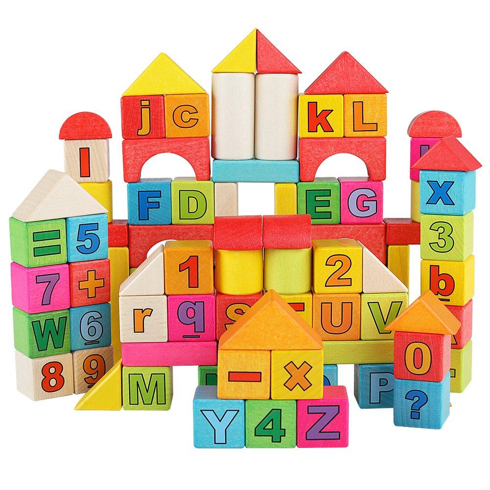 超大特価 木製ビルディングブロックセット – 88ブロックで9色と7形状番号木製ブロック教育玩具セット – B079DWJDL6, シメマチ:9ee11816 --- a0267596.xsph.ru