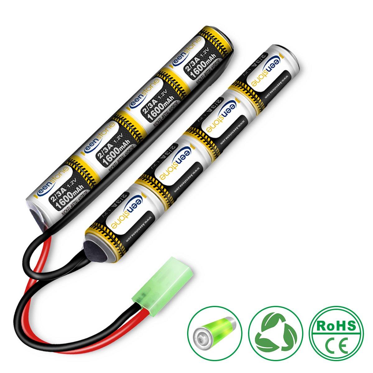 keenstone Airsoft Mini Batterie NiMH 9, 6 V 1600 mAh Nunchuk bâton pour Fusil à air comprimé ICS CA TM SRC JG G36 G& M734 etc + Mini connecteur Tamiya de Haute décharge 1011002