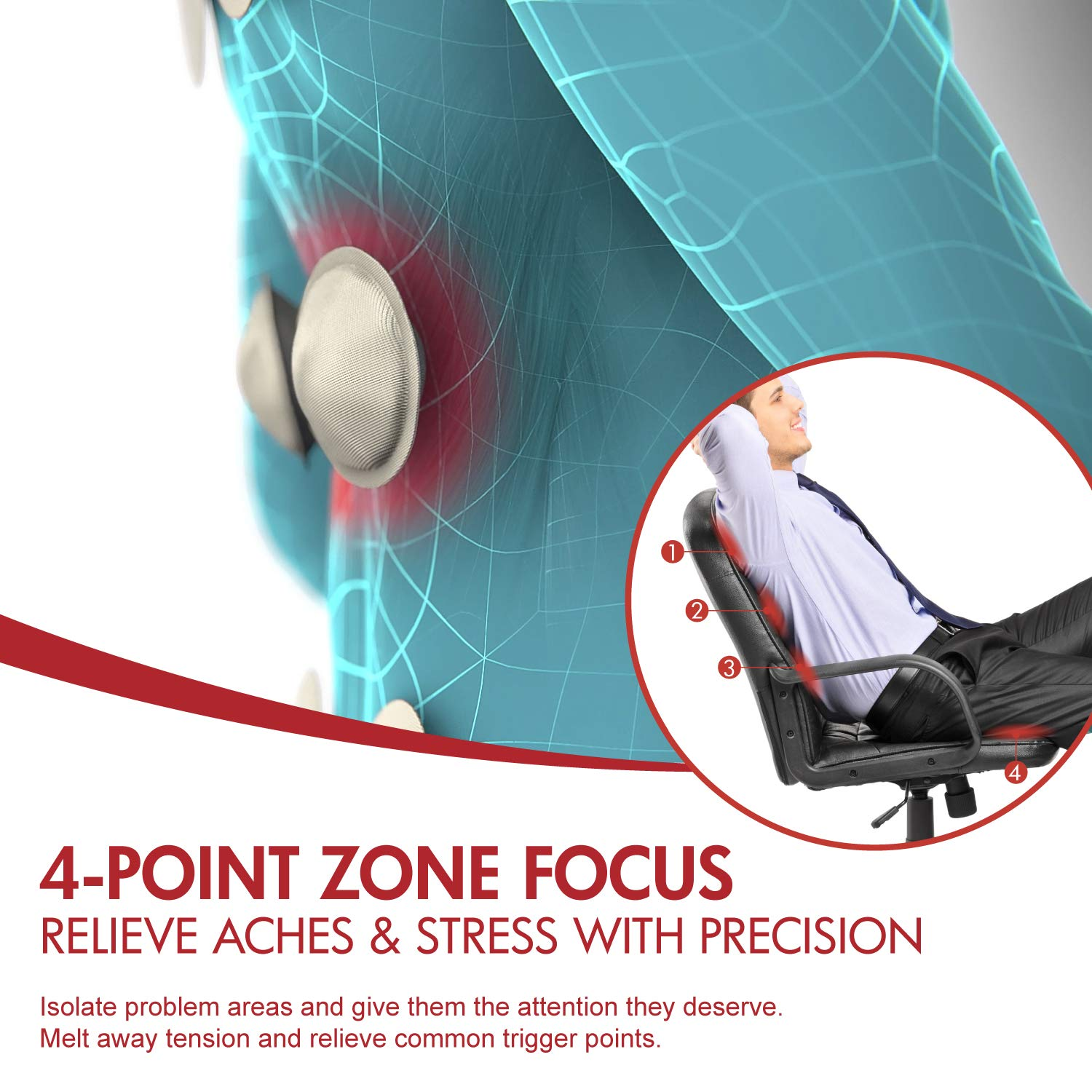 Viotek Air Comfort Massage Cushion | Shiatsu Relief for Gaming or Office Chair, Car Seat | 4-Point Targeting for Shoulders, Back and Leg Massager for Circulation by Viotek (Image #3)