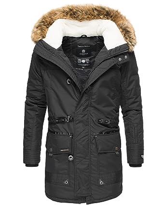 Marikoo Herren Winterjacke Winter Mantel Kapuze Kunstfell Ansaya S 3XL