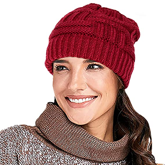 b571788ade4ca2 Glamorstar Unisex Winter Knit Beanie Hat Stretch Cable Ponytail High Bun Hat  Skull Cap Beige A at Amazon Women's Clothing store: