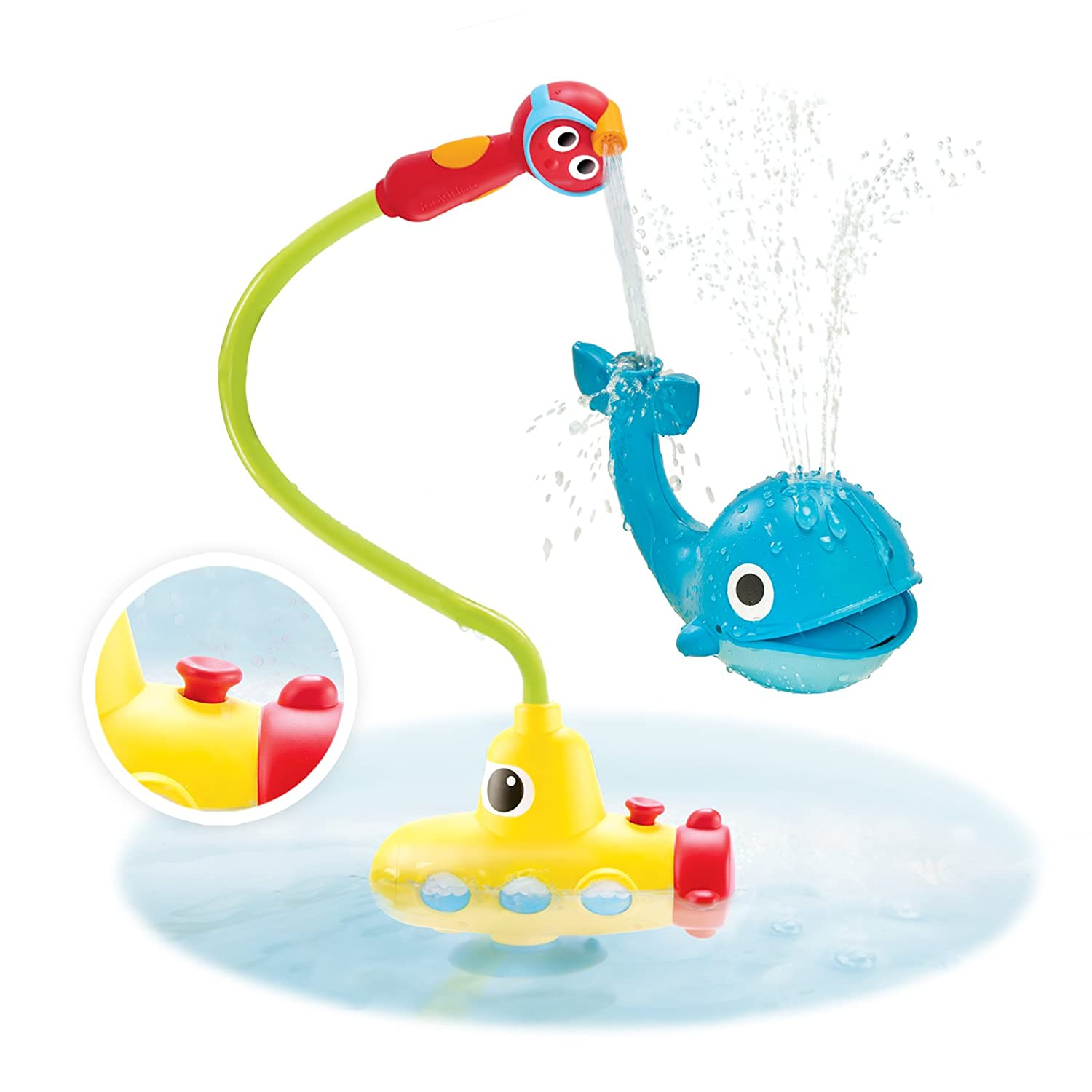 amazon com yookidoo submarine spray station battery operated baby bath toy submarine spray whale battery operated water pump with easy to grip hand shower