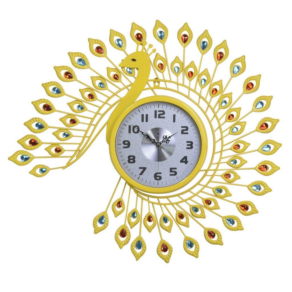 JCRNJSB® ファッションクロック孔雀の壁時計、時計のリビングルームミュートの寝室の装飾ヨーロッパスタイルのレトロな創造的な芸術の壁時計の時計65x73cm 壁掛けサスペンション クロックウォールクロック クォーツ時計 (色 : #2) B07CVT8552 #2 #2