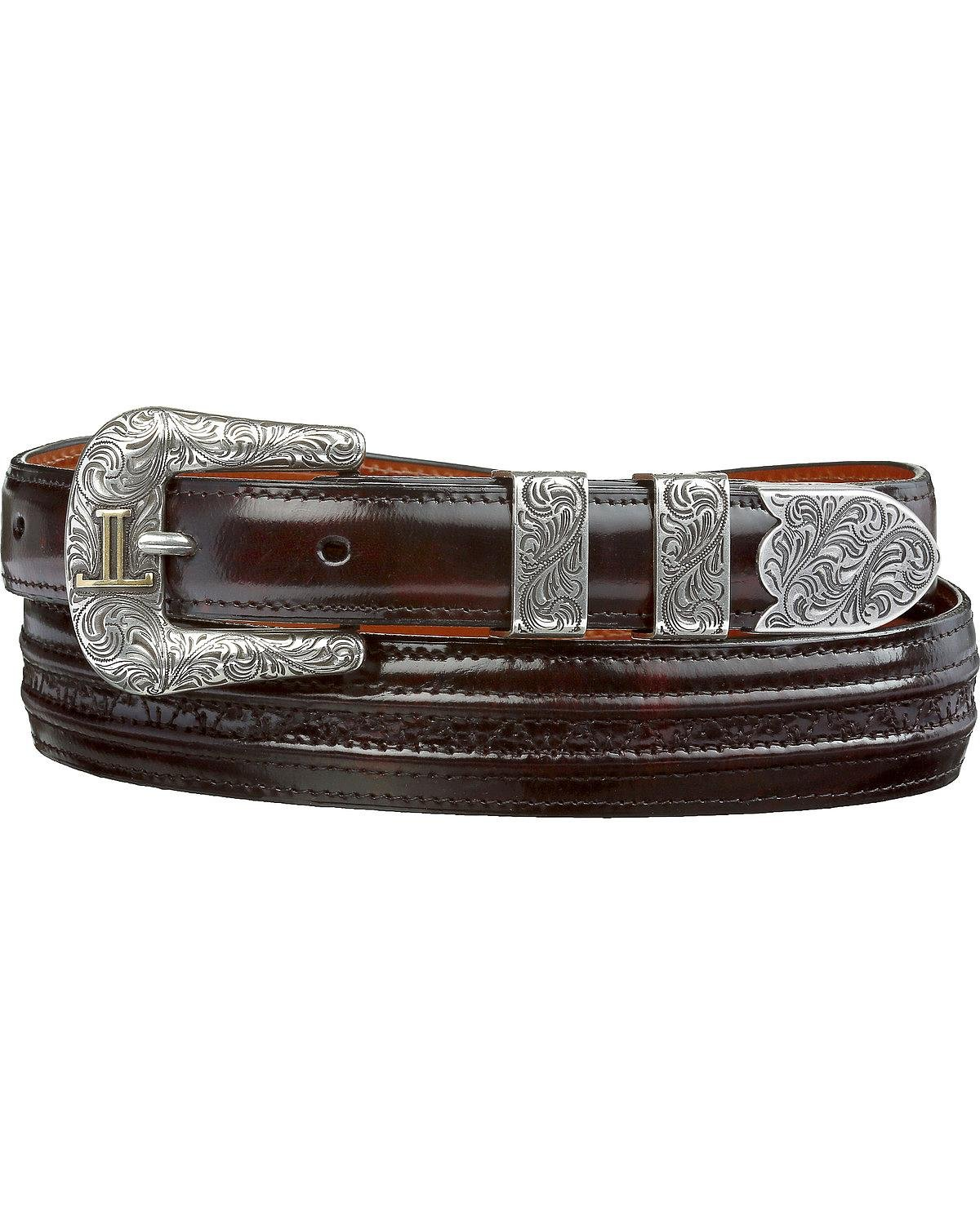 Lucchese Men's Cherry Goat With Hobby Stitch Leather Belt Black Cherry 38