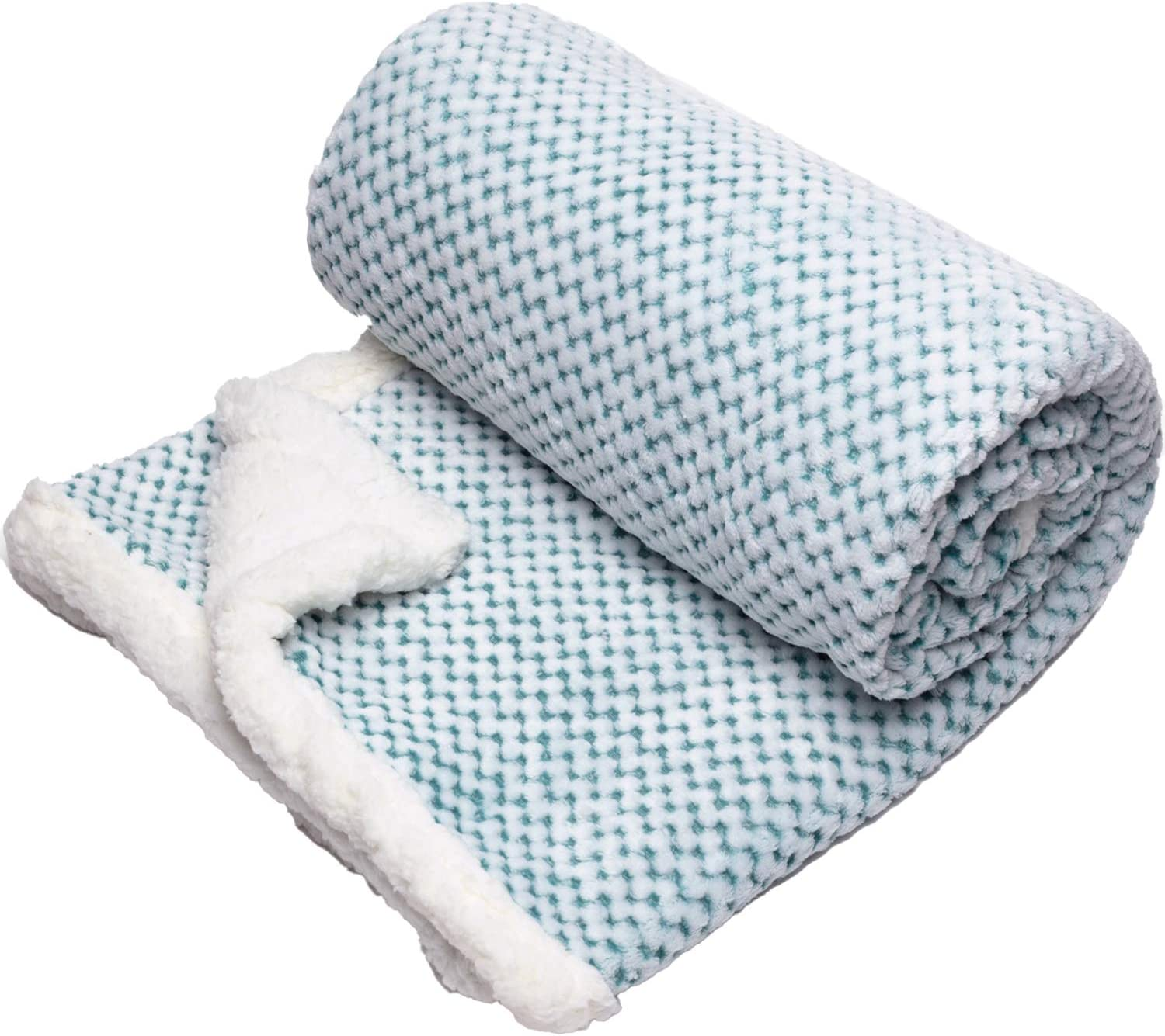 Simple Being Sherpa Fleece Soft Throw Blanket Luxury For Sofa Bed 50x65 Green Kitchen Dining