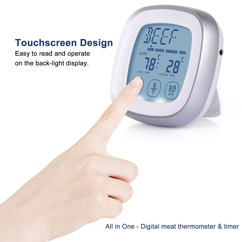 Termómetro Cocina, Yokamira Termómetro Digital Tactil de Horno con Sonda, Temporizador de Alarma, Termómetro para Carne Alimentos Parrilla Barbacoa ...