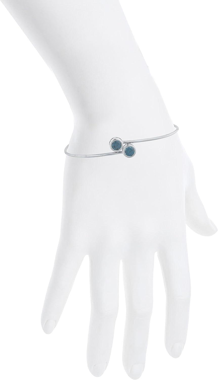 Elizabeth Jewelry Simulated London Blue Topaz Round Bezel Bangle Bracelet .925 Sterling Silver Rhodium Finish