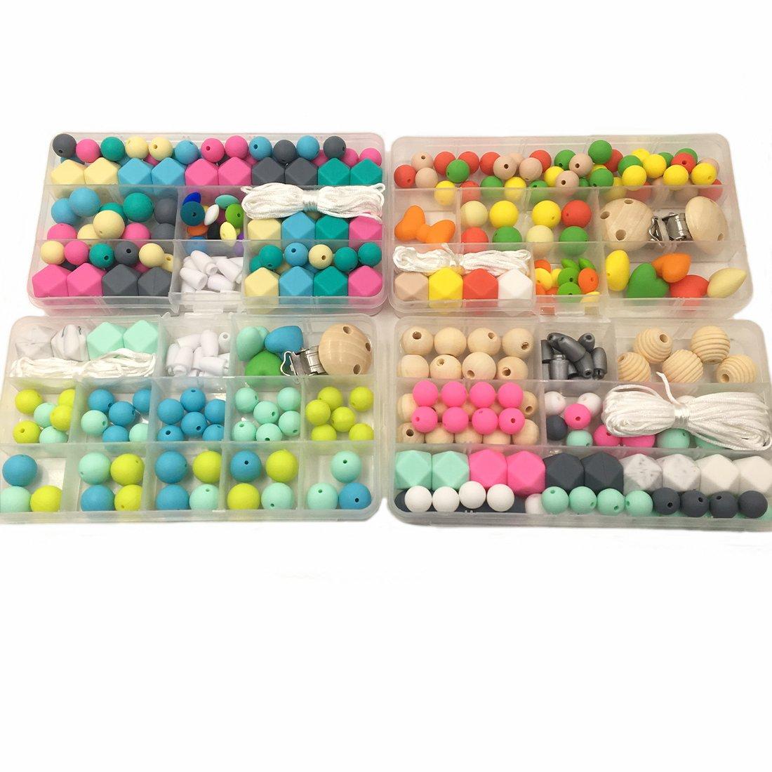 Coskiss 4pc DIY Baby-Beißring Zubehör Geometrie Hexagonal Runde Silikon-Korn-hölzernes Korn und Häkeln Perle Pacifier