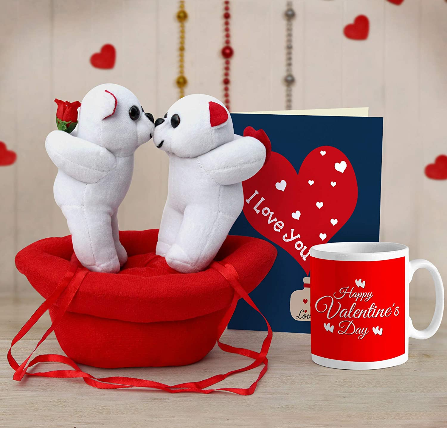 Buy Tied Ribbons Valentine Gift For Wife Husband Girlfriend Boyfriend Him Her Valentines Special Couple Teddy With Boat Printed Coffee Mug 325 Ml And Greeting Card Online At Low Prices In