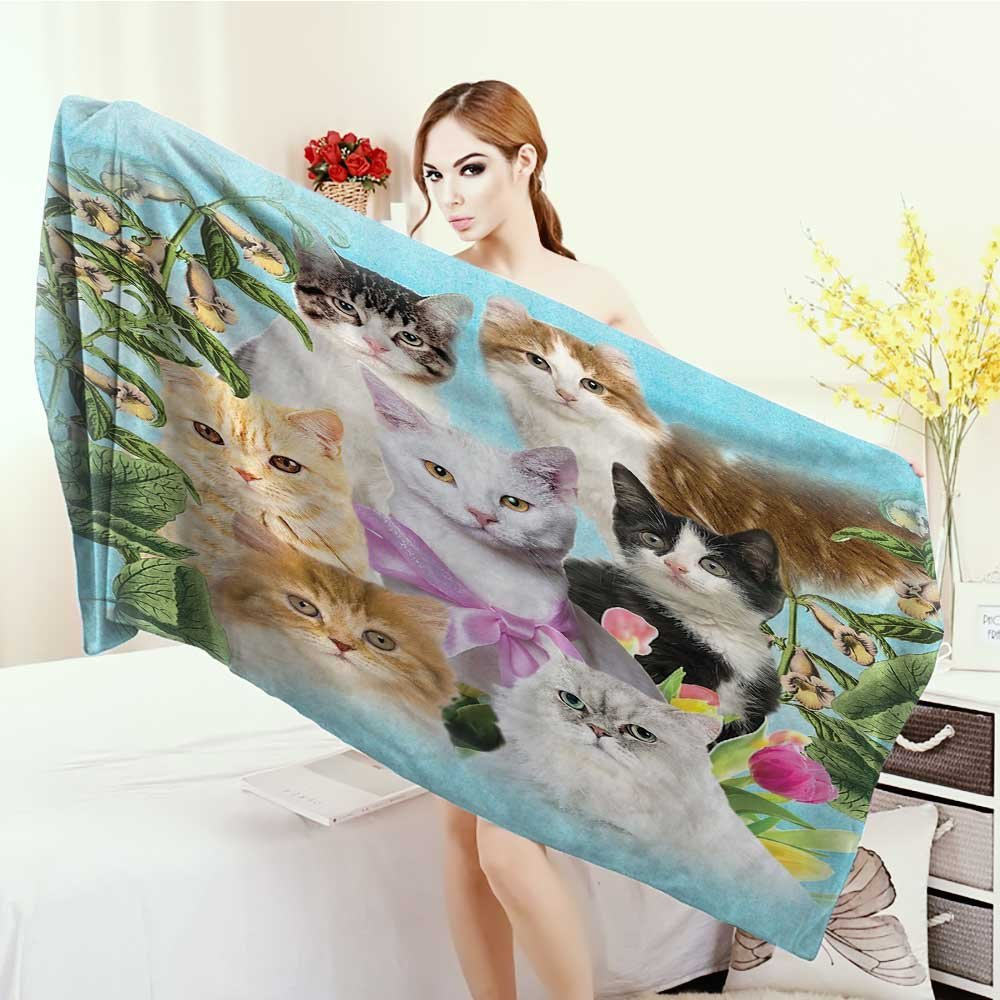 3D Printed Microfiber Beach Towel Cat Cute Kittens Tropical Animals Garden and Flowers Green Tropical Leaves Colorful Friends Tulips Thick Towels 63''x31.5'' Green Gray Black White Decor for Teen