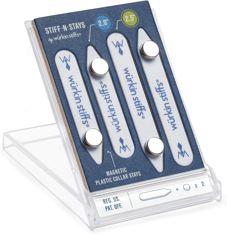 Wurkin Stiffs - 2 pair 2.0 inch and 2.5 inch Stiff-N-Stay Plastic Magnetic Collar Stays with storage case