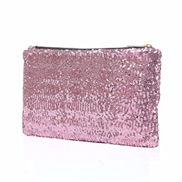 Fashion Korean Style Wholesale Luxury Sequin Dazzling Glitter Bag Women  Clutch Handbag Evening bag (Pink 7001bf6ec0