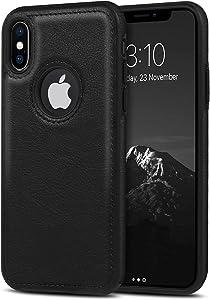 USLOGAN Vegan Leather Phone Case for iPhone XR Luxury Elegant Vintage Slim Phone Cover 6.1 inch (Black)