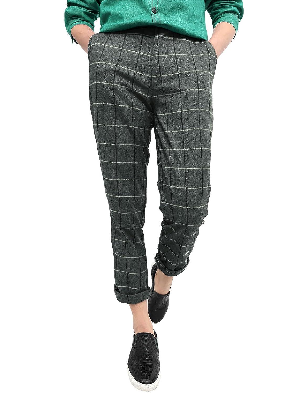 Allegra K Men Vintage Plaid Checks Windowpane Pattern Yarn Dyed Flat Front Pants